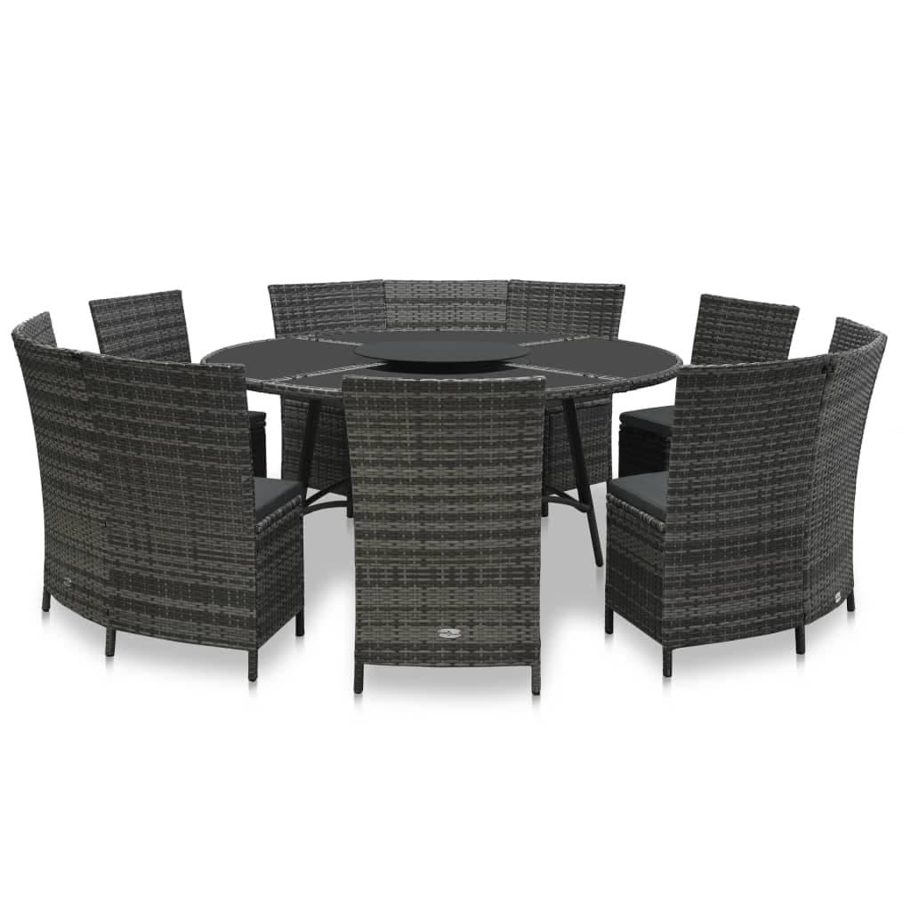 vidaXL 7 Piece Outdoor Dining Set with Cushions Poly Rattan Gray