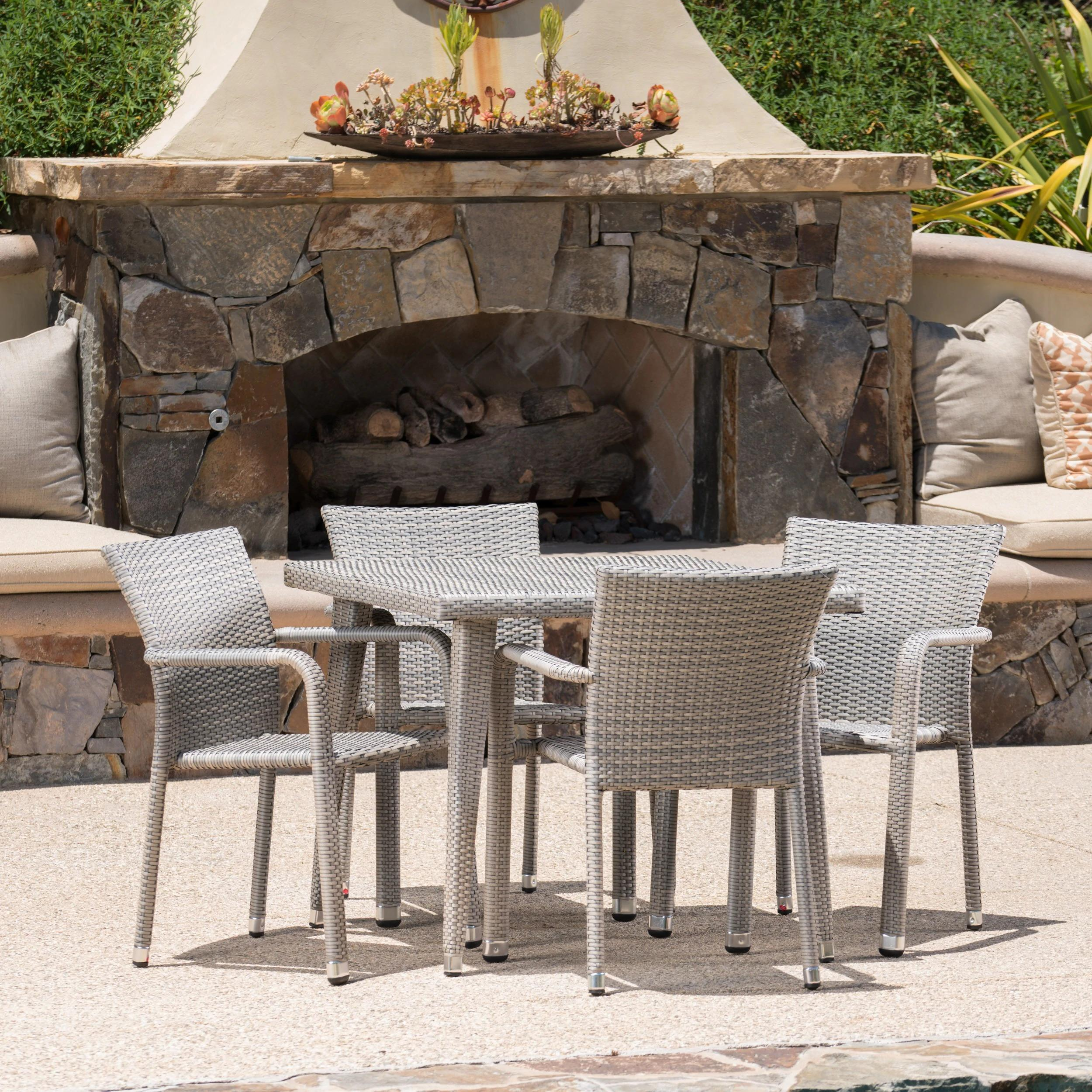 Rutledge Outdoor 5-piece Square Aluminum Wicker Dining Set by Christopher Knight Home - Grey