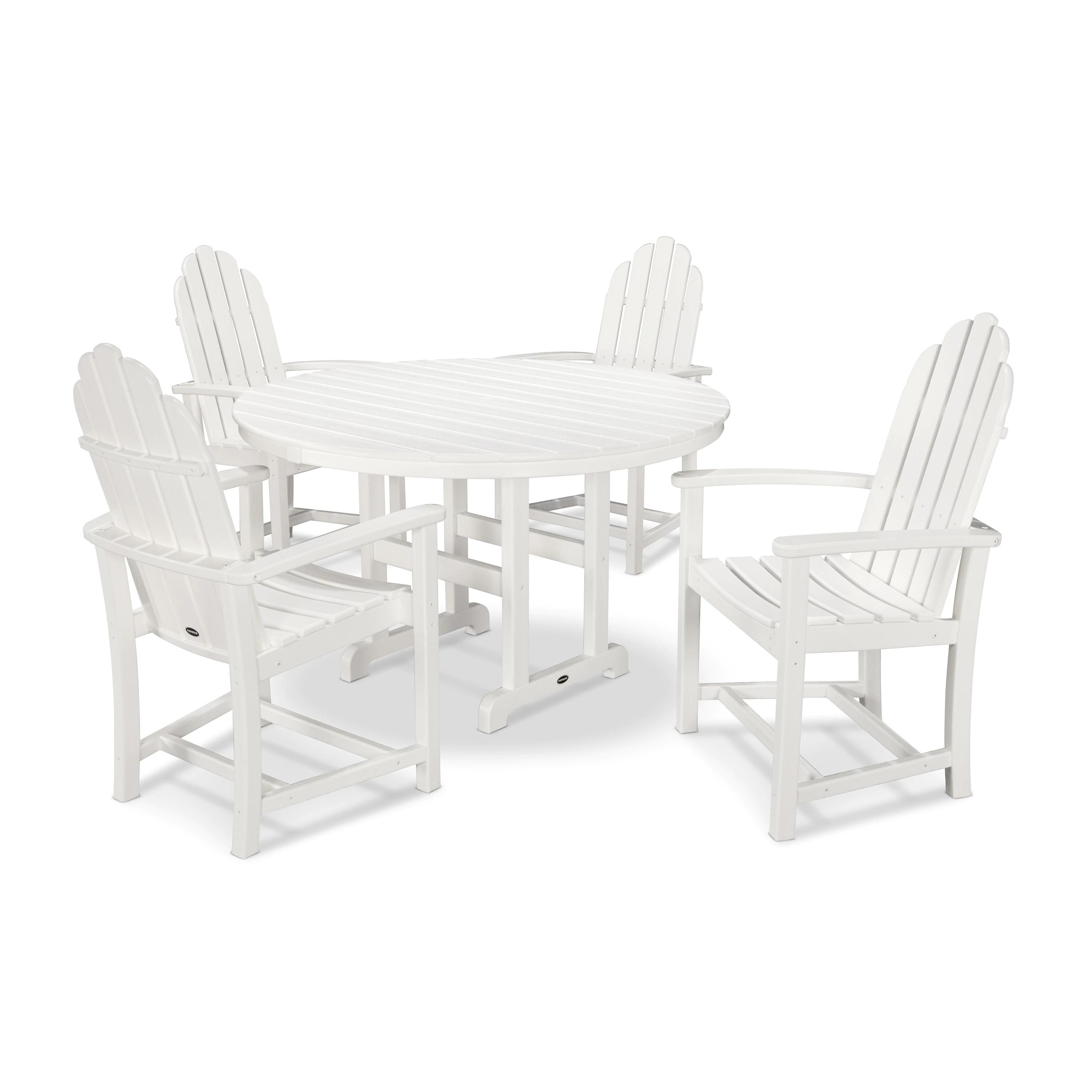 POLYWOOD Classic 5-Piece Outdoor Adirondack Chair Dining Set