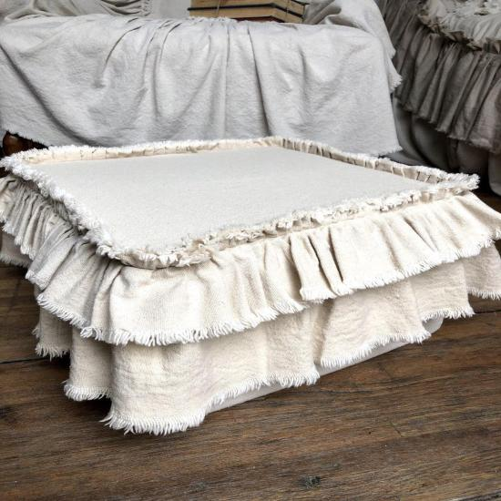 Slip Cover,Cushion,Custom Size,Ottoman Chair Foot Stool Bench,Ruffles,Beige Linen,White Ivory Canvas,French Country Rustic Farmhouse