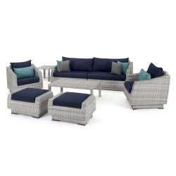 Cannes 8-Piece Sofa and Club Chair Wicker Patio Conversation Set with Blue Cushions