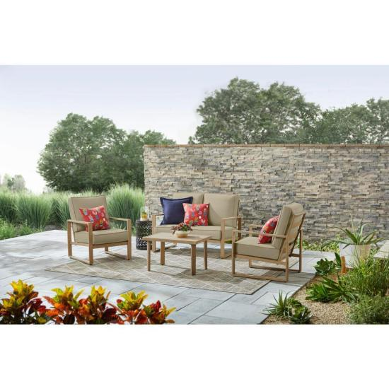 Mansford Park Aluminum 4-Piece Deep Seating Set with Beige Cushions