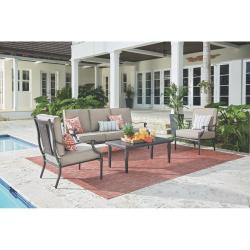 Dunham Manor 4-Piece All-Weathered Metal Deep Seating Set with Sand Dune Cushions