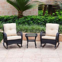 3-Piece Wicker Rocking with Cushions Patio Conversation Set - Dark Brown