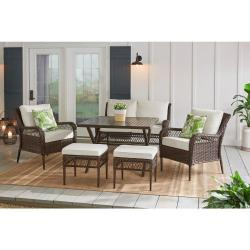 Bayview 6-Piece Wicker Patio Conversation Set with Beige Cushions