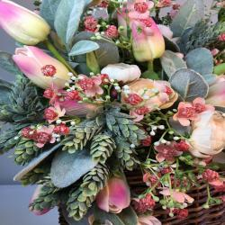 Pink Tulip Basket, with Pink and Cream Rose Tulips, Lamb Ear, Hanging Basket for Table  cor, Baby Shower, romantic gift or  Wedding