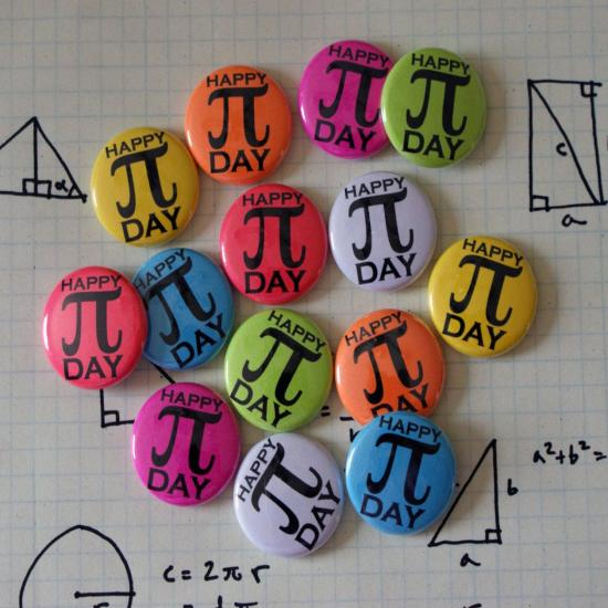 100 Pi Day Colorful Nerdy Geeky Math 1 Pinback Button Party Pack